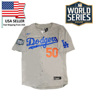 Los Angeles Dodgers #50 Mookie Betts Gray 2020 World Series Champions Jersey