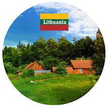 LITHUANIA - SIGHTS / FLAG - ROUND NOVELTY SOUVENIR FRIDGE MAGNET - NEW  GIFT