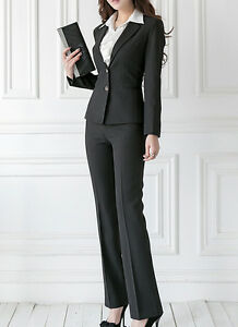 2486f6b064edfa Tailleur completo donna nero giacca a manica lunga e pantalone cod ...