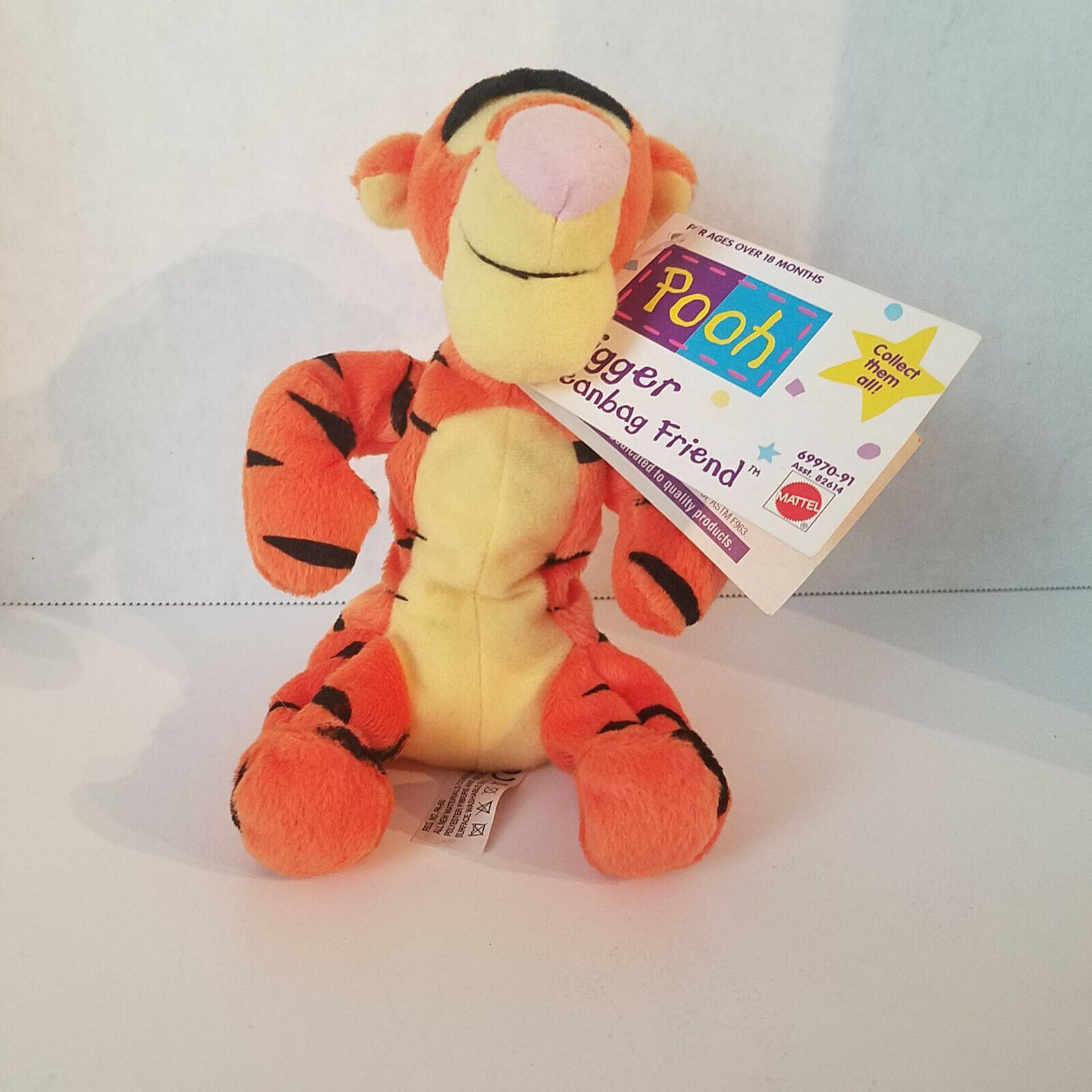 "Disney Authentic Winnie the Pooh Tigger Plush Bean Bag Toy 9/"" Stuffed Animal"