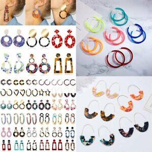 Boho-Geometric-Dangle-Drop-Hook-Acrylic-Resin-Ear-Stud-Earrings-Jewellery-Gift