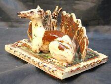 Studio Art Pottery Slipware Scrafitto Lurcher & Hare by Sculptor Brian Andrew