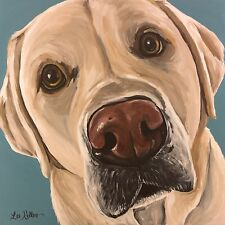 "Yellow lab art print from original retriever painting,10x10"", signed by artist."