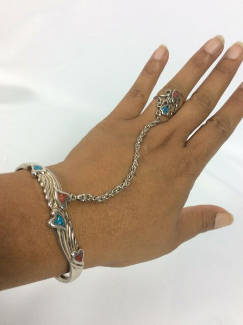Pretty  Carolyn Pollack sterling Silver 925 Turquoise Cuff Slave bracelet Ring