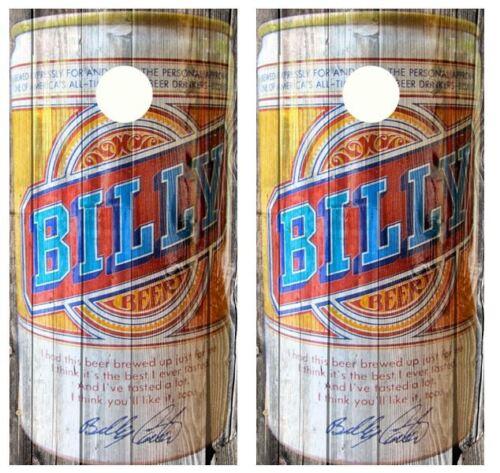 Beer Can Barnwood Cornhole Board Wraps #2492 Vintage Billy/'s Beer