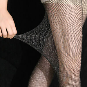 f52387fc502 LX  Women s Fishnet Sparkly Pantyhose Footed Tights Stretchy Long ...