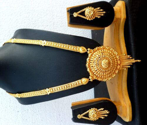 Indian Wedding 22K Gold Plated 11/'/' Long Round Pendant Necklace Earrings sale ..