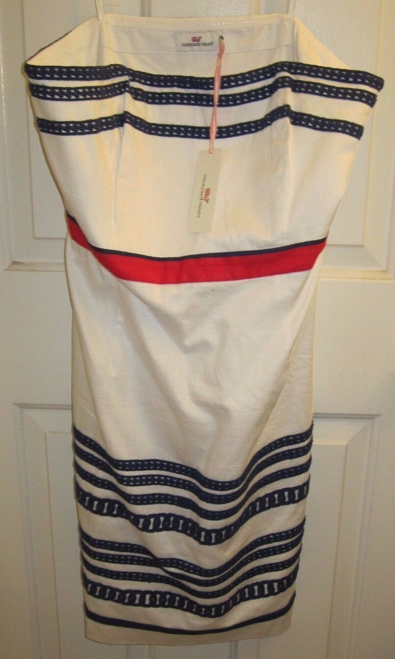Vineyard Vines Textured Cotton Strapless Dress in White Cap - Size 12 - NWT