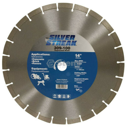 "Brick /& Pavers Silver Streak 14/"" Segmented Diamond Saw Blade for Concrete"