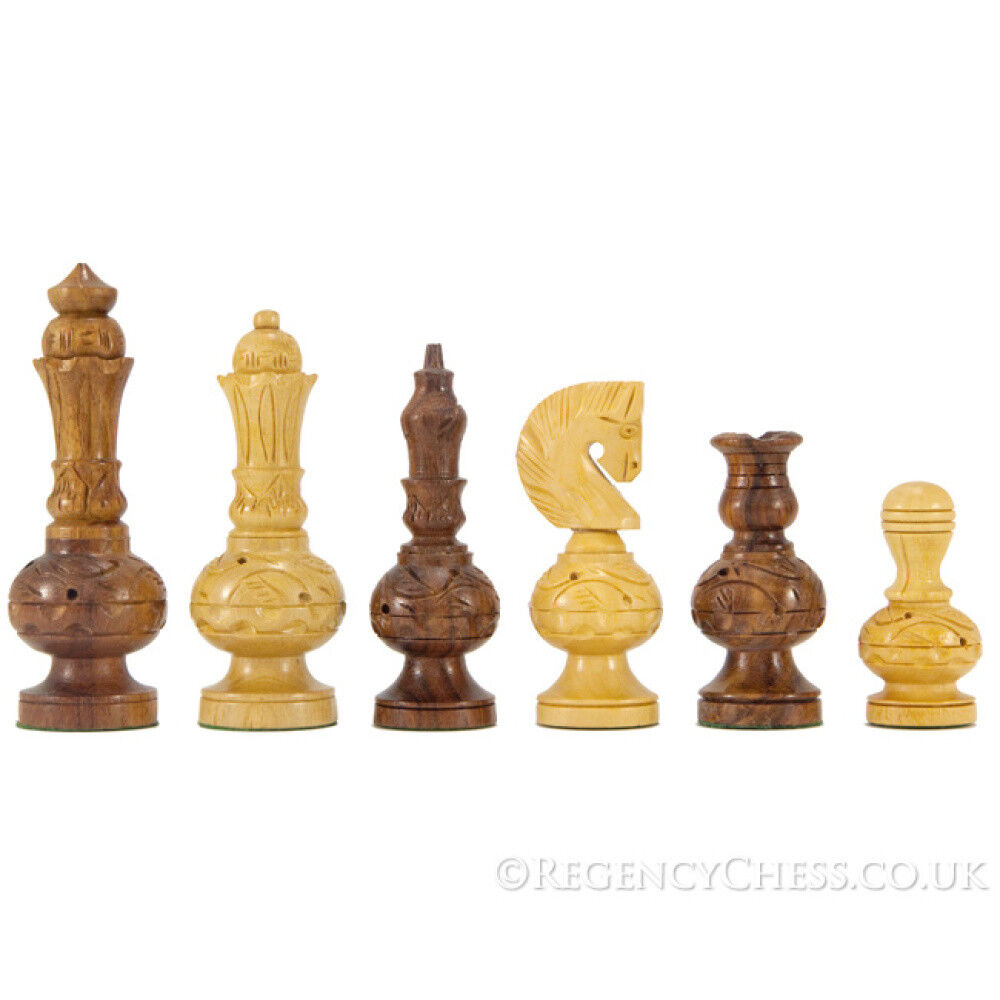 Mogul Fretwork Hand Carved golden pinkwood Chess Pieces