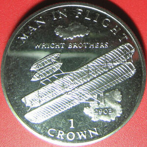 1995-ISLE-OF-MAN-1-CROWN-034-WRIGHT-BROTHERS-034-AIRPLANE-1903-CU-NI-COIN-no-silver