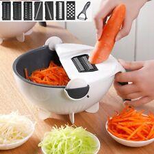 9 In 1 Multifunction Magic Rotate Vegetable Fruit Cutter Grater w/Washing Basket