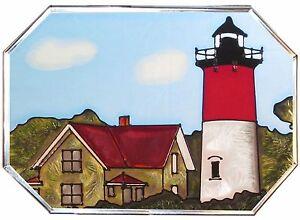 """Silver Creek Massachusetts Nauset Beach Lighthouse ~ 7"""" x 10"""" Glass Suncatcher"""