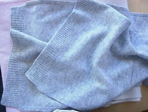 Heather-gray-grey-100-Pure-cashmere-scarf-Winter-Unisex-soft-knit-long