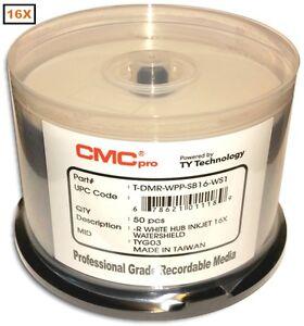100-Pak CMC PRO (TY Technology) WATERSHIELD & GLOSSY White Inkjet Hub 16X DVD-Rs