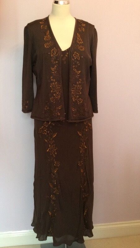 COUNTRY CASUALS BROWN SILK EMBROIDERED BEADED DRESS & CARDIGAN SIZE 12 L