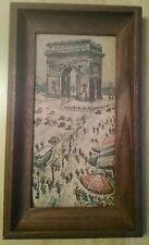 VINTAGE Watercolor Print Framed L' Arc de Triomphe Champs de Elysse Paris GIRARD