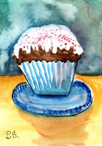 ACEO-Cupcake-Watercolor-Illustration-Art-original-Painting-by-Penny-Lee-StewArt