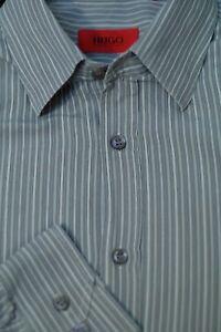 Hugo-Boss-Men-039-s-Gray-amp-White-Stripe-Cotton-Casual-Shirt-L-Large