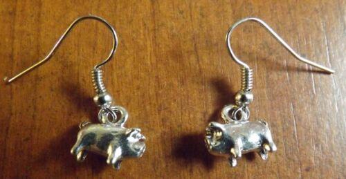 Boucles d/'oreilles argentées cochon porc 11x12 mm