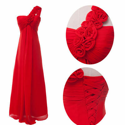Red Chiffon Prom Long Formal Evening Party Cocktail Bridesmaid Bridal Maxi Dress