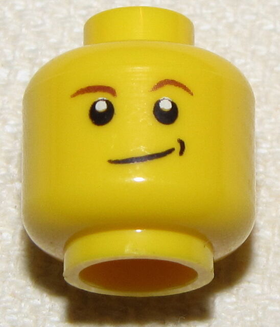 LEGO NEW MINIFIGURE HEAD SIDE SMIRK WITH BROWN EYEBROWS SMILE MINIFIG FACE