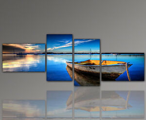 Design-Picture-Mural-Blue-Sea-Boot-Entspannung-Living-Room-Art-155x60cm
