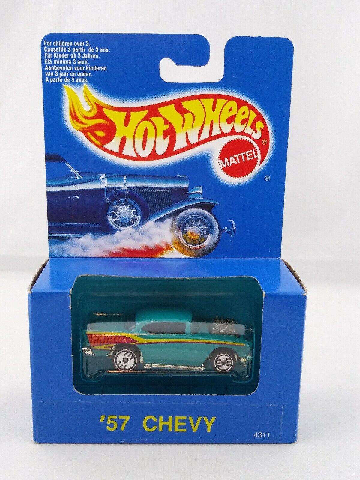 1990 heiß Wheels Blau Box voitured  4311 '57 Chevy Turquoise Ultra heiß International