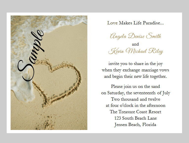 100 Personnalisé BEACH SAND Tropical Heart destination Mariage Invitations Set