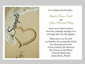 100 Personalized Beach Sand Tropical Heart Destination Wedding Invitations Set