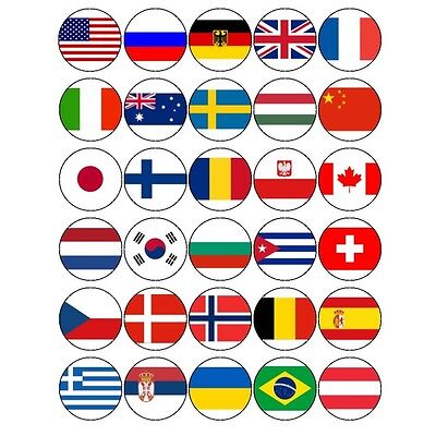 30x WORLD FLAGS MIXED OLYMPICS COUNTRIES EDIBLE PREMIUM CUPCAKE CAKE  TOPPERS | eBay
