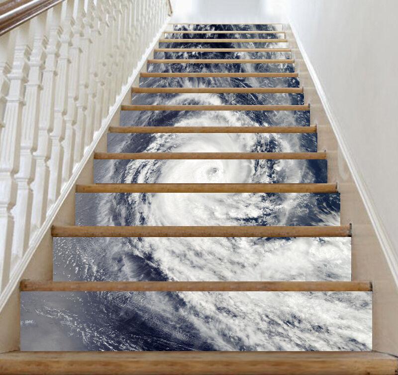 3D Meer Tornado 207 Stair Risers Dekoration Fototapete Vinyl Aufkleber Tapete DE