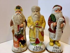 Lot-Of-3-Hallmark-Santa-039-s-From-Around-The-World-Sweden-Russia-Italy-Collectable