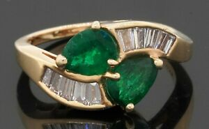 14K gold elegant 2.0CTW VS/F diamond/Pear emerald crossover cocktail ring size 6