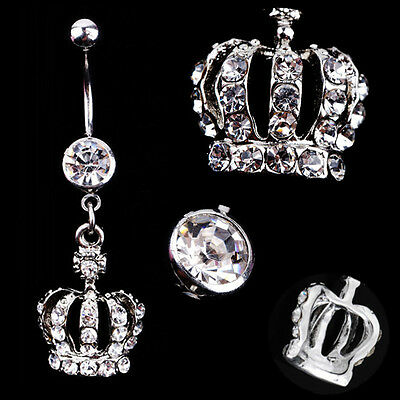 Lady Crown Rhinestone Crystal Navel Belly Button Bar Ring Body Piercing Jewelry