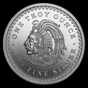 SERIES ~ $27.88 ~ SALE ! 1~OZ .999 SILVER ~ BU GEM ROUND ~ AZTEC CALANDER ~ 1st