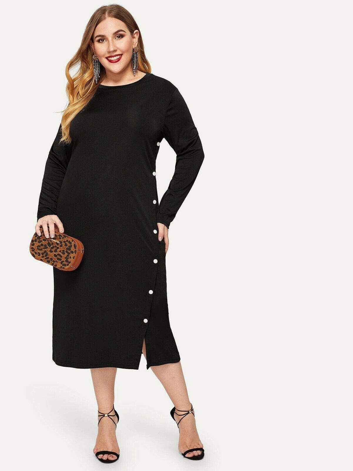 Solid Black Midi Dress with White Button Accents size 3