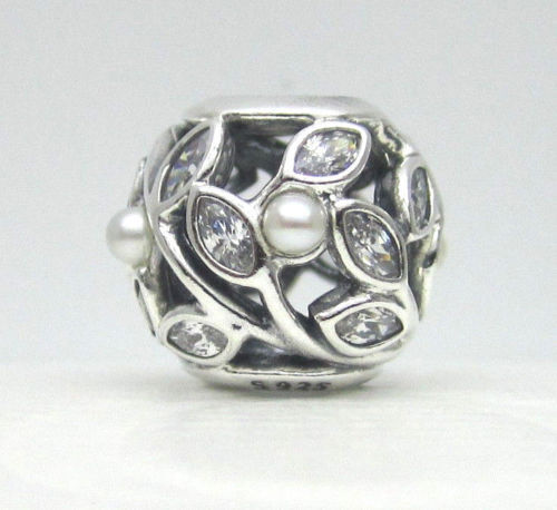 64ffdfc38 PANDORA Charm 791754P Luminous Leaves White Pearl & Clear CZ for sale  online | eBay
