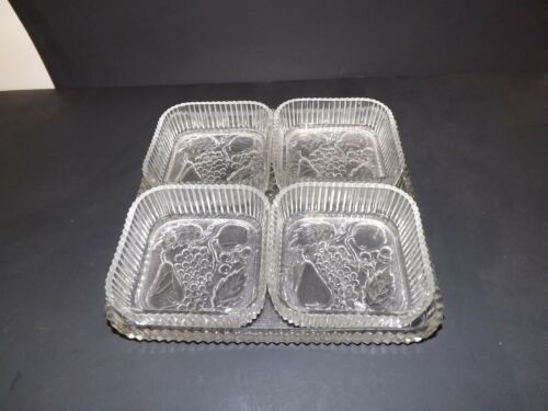 INDIANA GLASS FRUIT GLASS TRAY PLATTER W4 NESTING CONDIMENT CHIP DIP DISHES