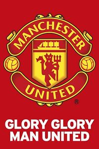 Glory Glory Manchester United Team Crest Poster 24 X36 Officially Licensed Ebay