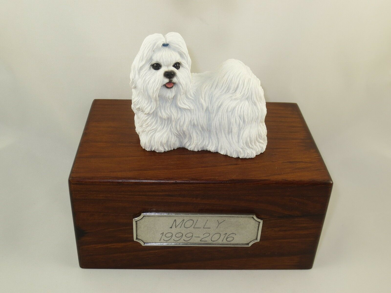 caldo Beautiful Paulownia Small Wooden Personalized Urn With bianca bianca bianca Shih Tzu Figurine  risparmia fino al 70%