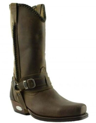 Loblan 548 Brown Waxy Leather Mens Cowboy Boots Classic Biker Square Chisel Toe