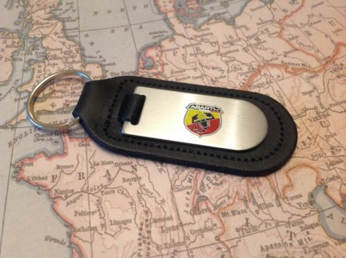 ABARTH FIAT BLACK LEATHER KEY RING FOB ETCHED AND INFILLED 500