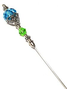 Sechs-Zoll-Silber-Hut-Pin-Tuerkis-amp-Gruen-Kristallglas-Perlen-Hutnadel-Hut-Brosche