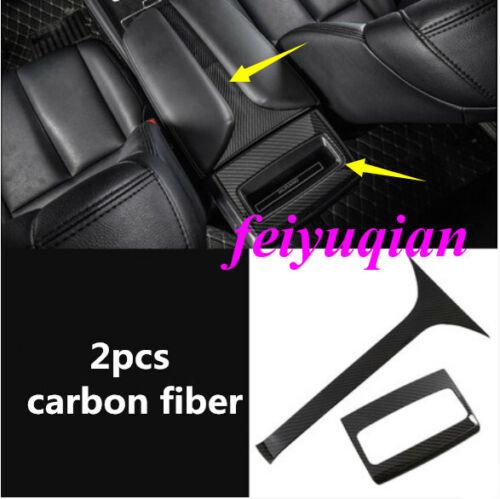 carbon fiber Inner Rear Armrest Box Decor Cover trim For Nissan Murano 2015-2019