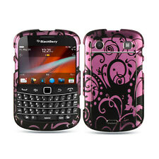 For Blackberry Bold 9930 9900 HARD Case Snap on Phone Cover Black Purple Swirl