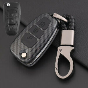 Carbon-Fiber-Design-Shell-Silicone-Cover-Holder-Fob-Case-For-Ford-Remote-Key-B