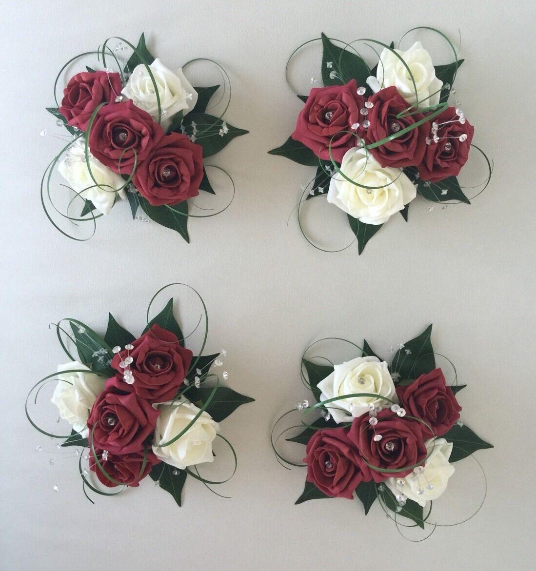 4 X FLOWERS BURGUNDY IVORY WEDDING CAKE TOPPER TABLE DECORATION BOWL CENTREPIECE