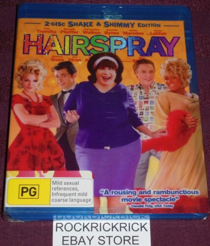 1 of 1 - HAIRSPRAY BLU-RAY 2-DISC EDITION (TRAVOLTA,PFEIFFER,WALKEN & MORE) RATED PG