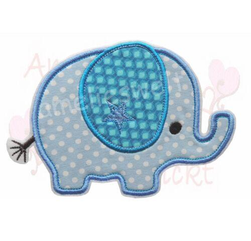 XXL Elefant Applikation Aufbügler Aufnäher Patch Bügelbild Sticker blau punkte